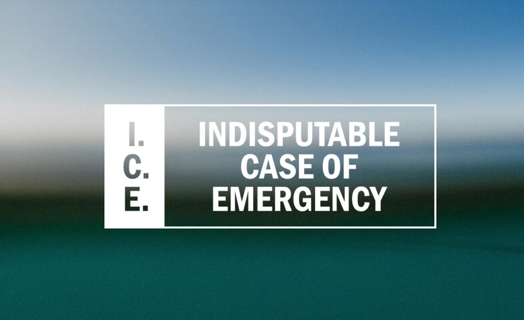 Logo, jossa lukee I.C.E. Indisputable Case of Emergency